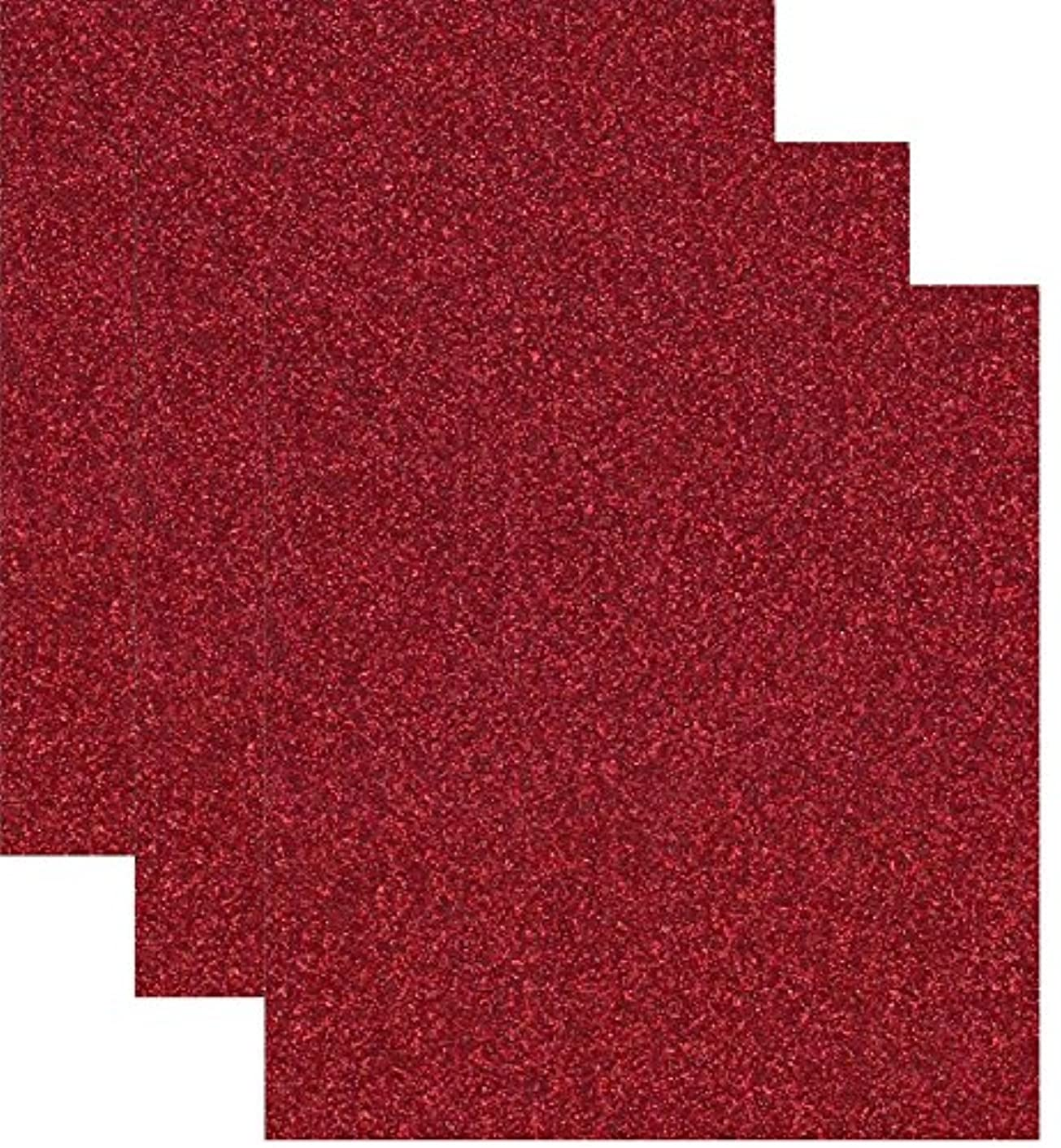 Siser Glitter Heat Transfer Vinyl HTV for T-Shirts 10 by 12 Inches (1 Foot) Sheets 3 Pack (Red)