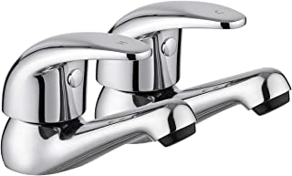 """JASSFERRY Pair of Basin Taps Hot and Cold Water Bathroom Sink Cross Handle Ceramic Handles 1/2"""" Faucets (Lever)"""