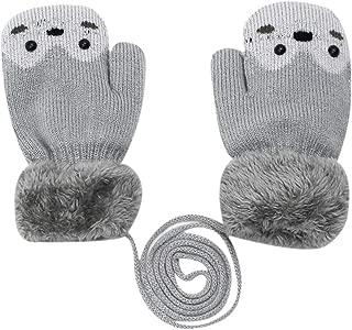 Cure Animal Cartoon Warm Winter Gloves Plush Cycling Mittens Fingerless Hand Warmer for Boys Girls