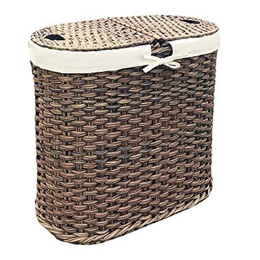 Seville Classics Handwoven Oval Double Laundry Hamper, Mocha