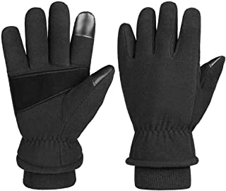OZERO Winter Gloves -30°F Cold Proof Thermal Glove Warm Fleece Insulated Lamb Wool - Hands Warmer in Cold Weather for Women and Men Black