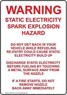 Warning Static Electricity Spark Explosion Label Decal, 5x3.5 in. 4-Pack Vinyl for Fuel Hazmat by ComplianceSigns