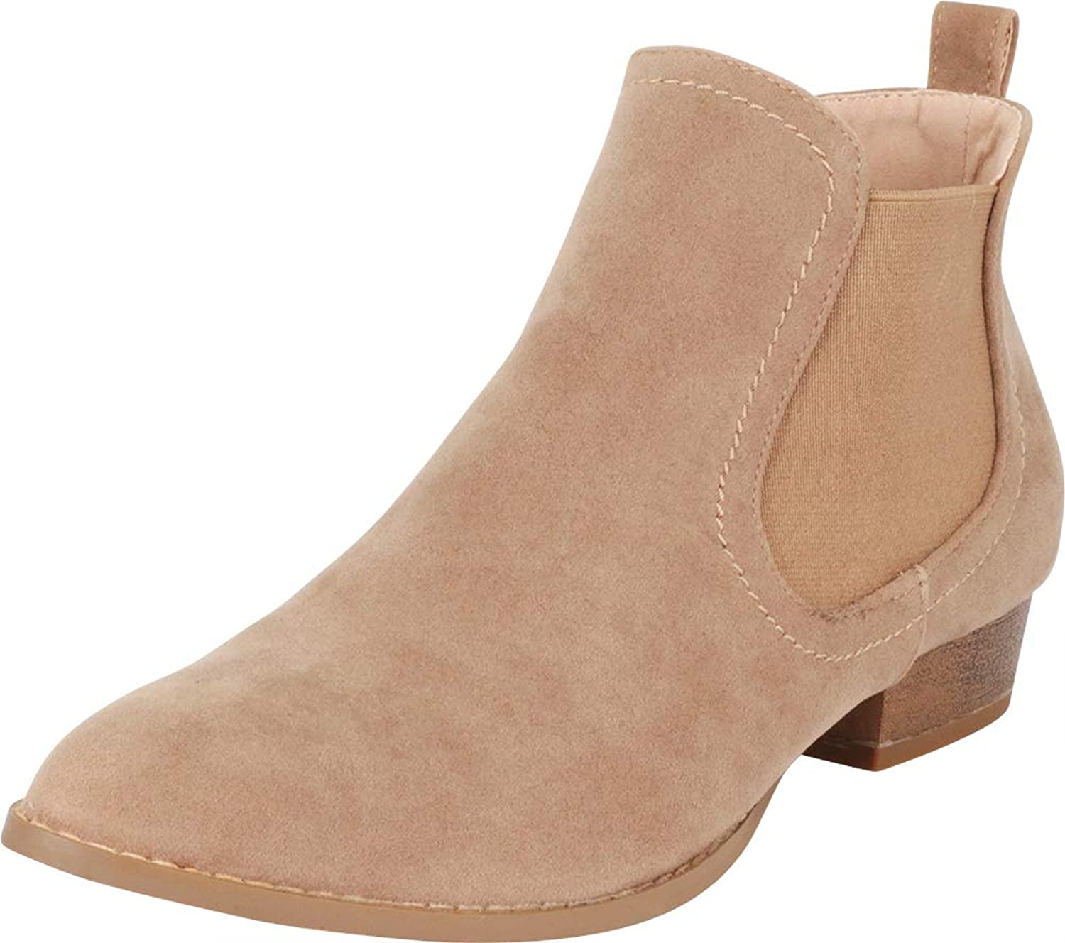 Cambridge Select Women's Classic Western Pointed Toe Chelsea Stretch Low Heel Ankle Bootie