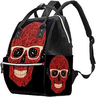 Multifunctionele grote baby luiertas rugzak, rode schedel illustratie met glazen en tanden op zwarte luiertas reizen rugza...