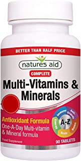 Natures Aid Multivitamins and Minerals, With antioxidant and minerals Formula, 90 Tablets