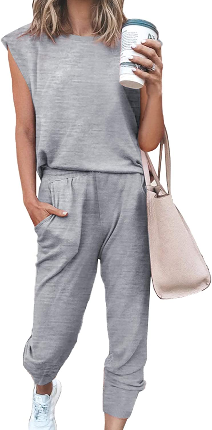 ROSKIKI Womens Active Two Pieces Outfit Casual Basic Loose Pants Set Tracksuit Jogger Set with Pockets