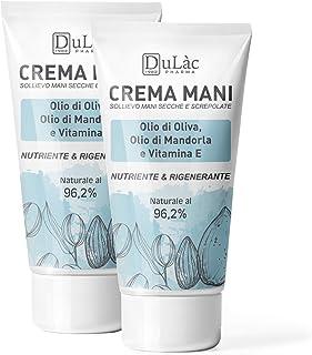 Crema Mani Riparatrice 2 x 50 ml Dulàc, Crema Mani Screpolate Naturale e Rigenerante - Crema Idratante Mani con Olio d'Oli...