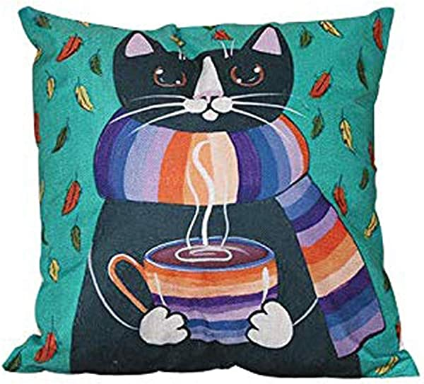 BlueSpace Pillow Covers Soft Cushion Cover Cute Cat Throw Pillow Cases 18x18 Inch Square Decorative Cushion Cover For Sofa Couch Chair Bed Car Green