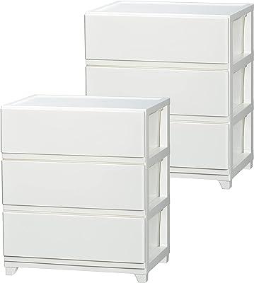 大竹産業 JEJ チェスト 3段 ワイド ホワイト 2個組【セット買い】【日本製】