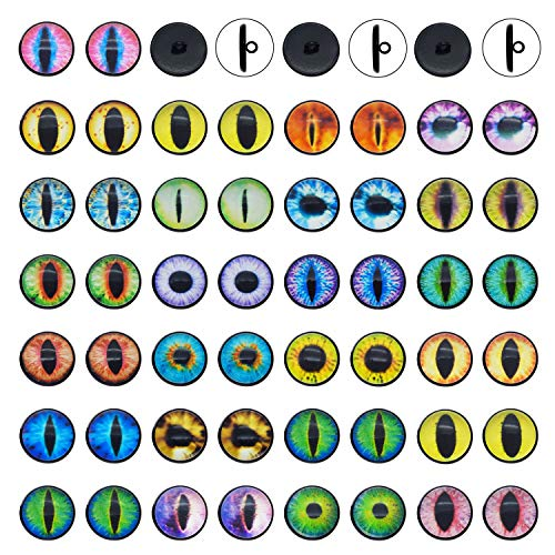20 Pairs Sew On Eyes for Amigurumi Stuffed Plush Toys Glass Dragon Lizard Frog Eyes Round Domed Buttons