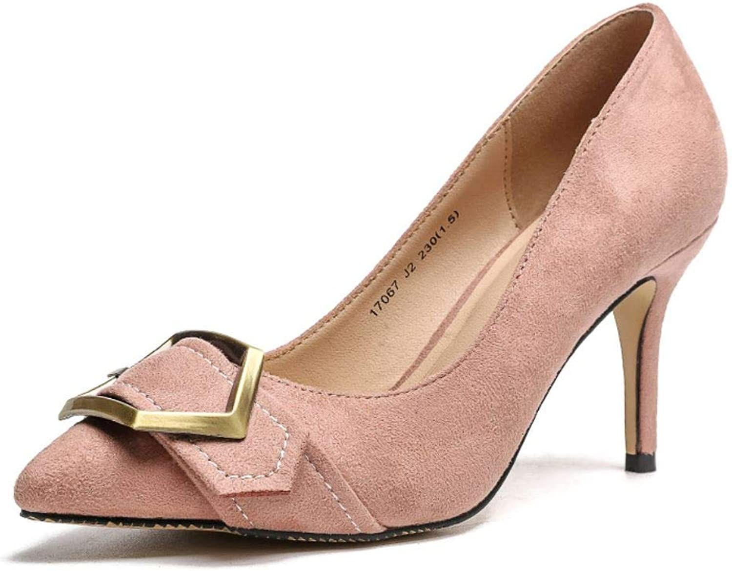 Sexyliliforu Spring high Heels Pointed Metal Buckle Single shoes Female Thin with Light Wild