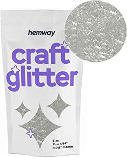 "Hemway Craft Glitter 100g 3.5oz FINE 1/64"" 0.015"" 0.4MM (White)"