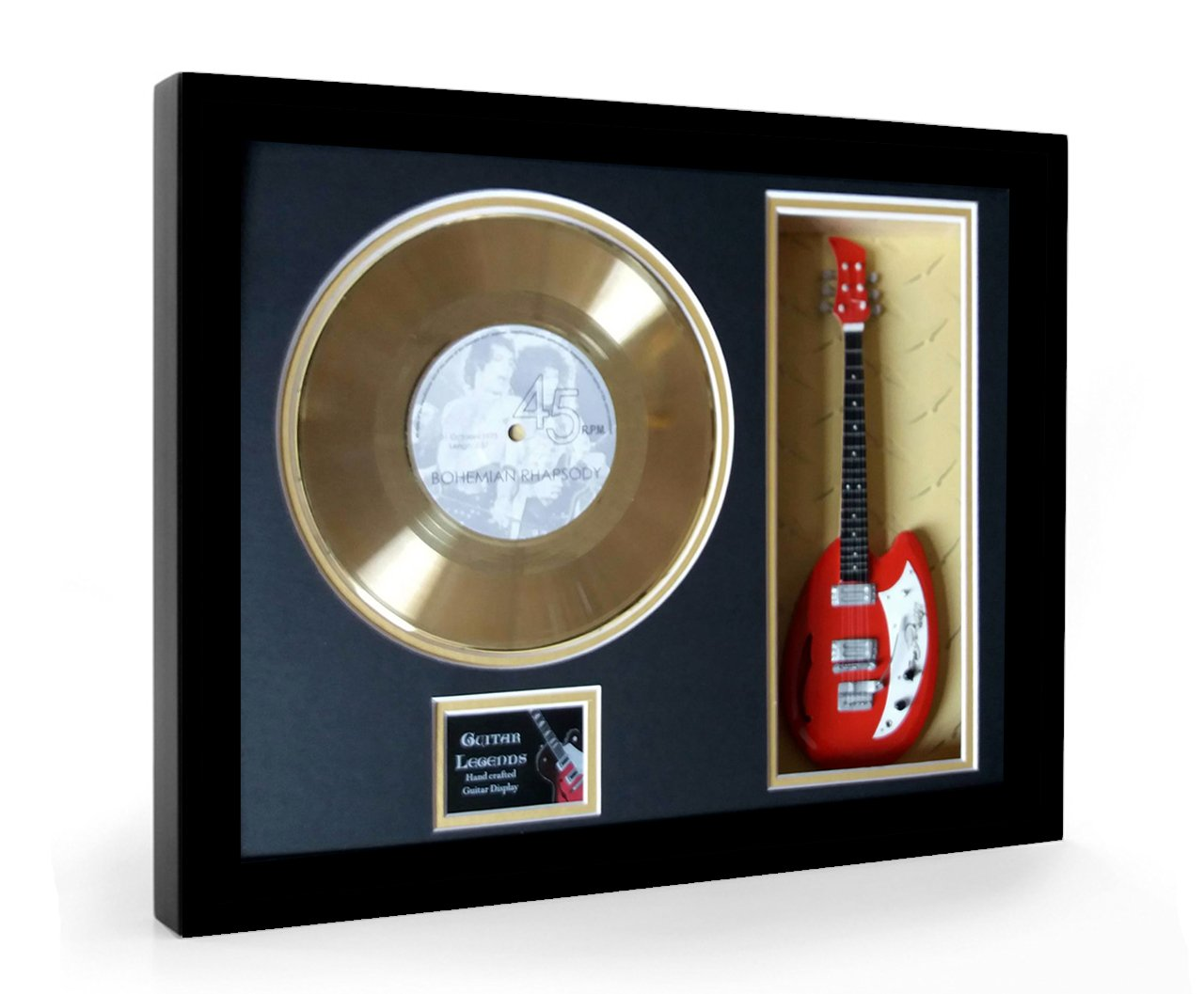 Queen Bohemian Rhapsody Framed Mini Guitarra & Disco de oro Disc ...