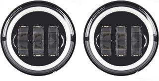 SKUNTUGUANG 1 Pair 4.5 Inch Led Fog Light with Angel Eyes Passing Lamps DRL bulb for Harley Davidson Daymarker Harley Fog Lamp (Black Fog Light with Angel Eye)