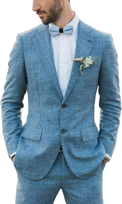 Wemaliyzd Men's 2 Pieces Linen Suit Blazer Dress Wedding Jacket Casual Pants
