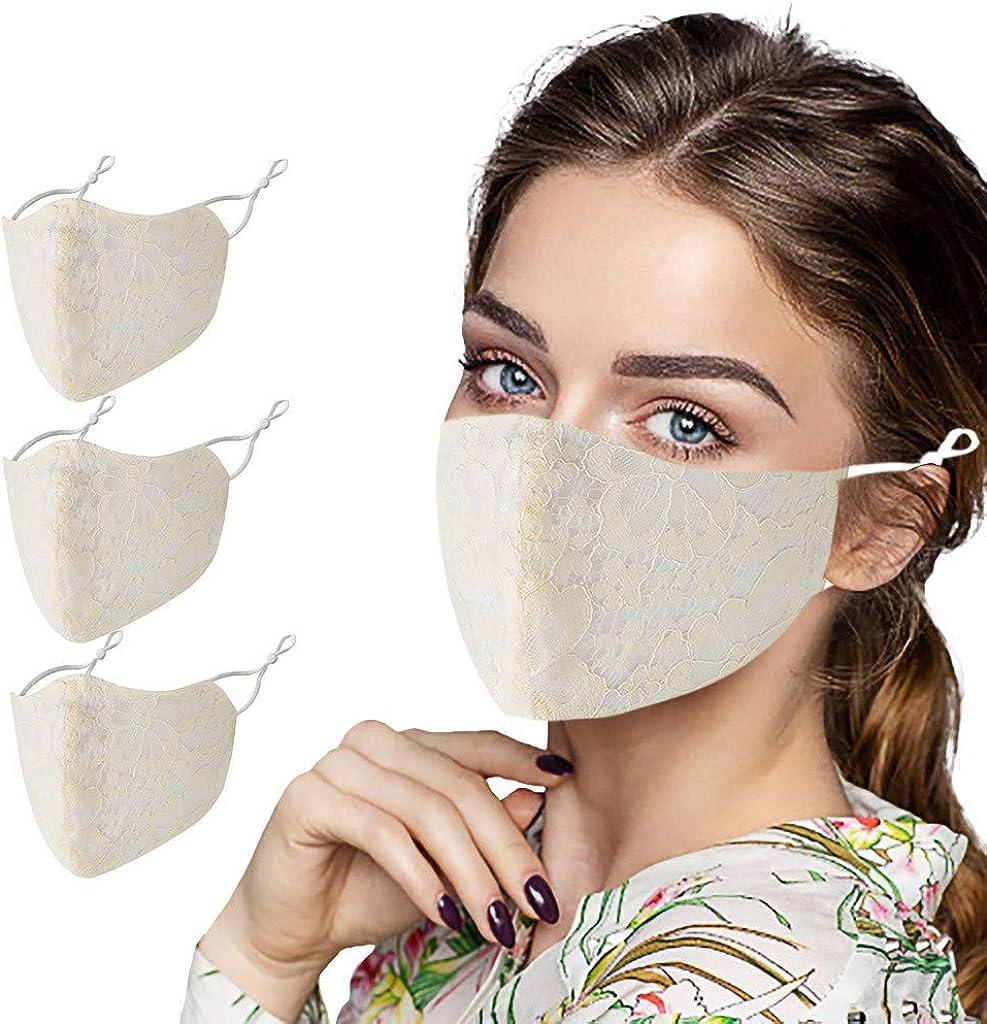 PPangUDing Damen Mundschutz Multifunktionstuch Waschbar Wiederverwendbar Atmungsaktive Staubdicht Einfarbig Spitzen Bandana Halstuch Multifunktionstuch
