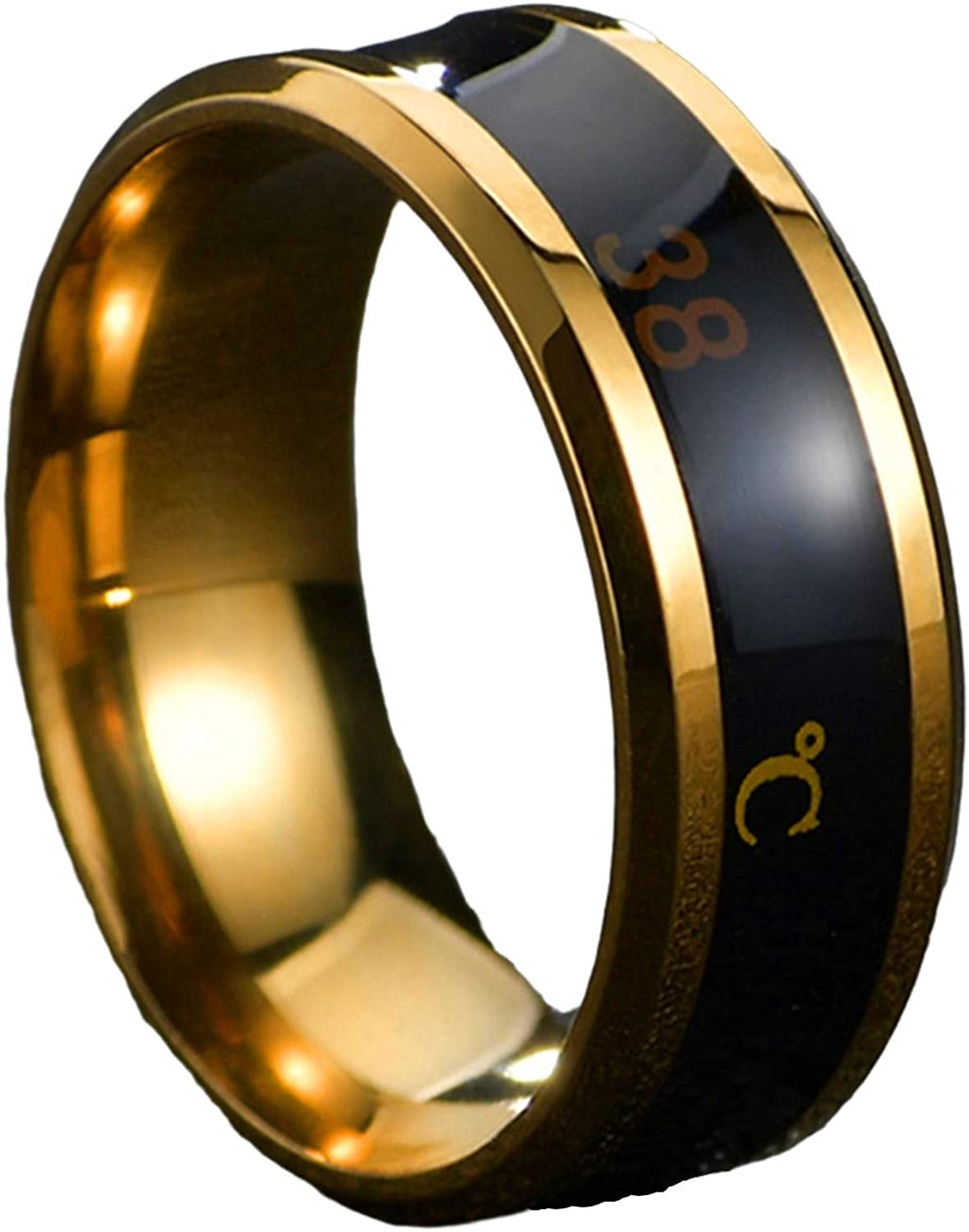 Aite Babe 8mm Mens Rings Stainless Steel Temperature Monitor Ring, Jewelry Colorful Digital Ring, Couple Rings Wedding Band for Men and Women Sizer 6-11