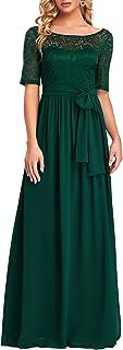 Ever-Pretty Women Lace Illusion Short Sleeve Chiffon Wedding Party Dress 07624