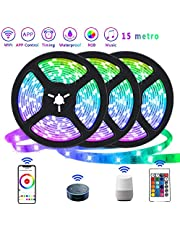 Smart LED Strip Lights Color Changing RGB Wifi APP Remote Control Rope Light Work with Alexa Google Waterproof Sync with Music Apply for Party Home Bedroom Decoration (15m,UK Plug)