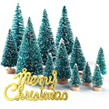 KUUQA 34PCS Mini Nieve Frost Trees Bottle Brush Trees para Home Table Top Decoration and Holiday Party