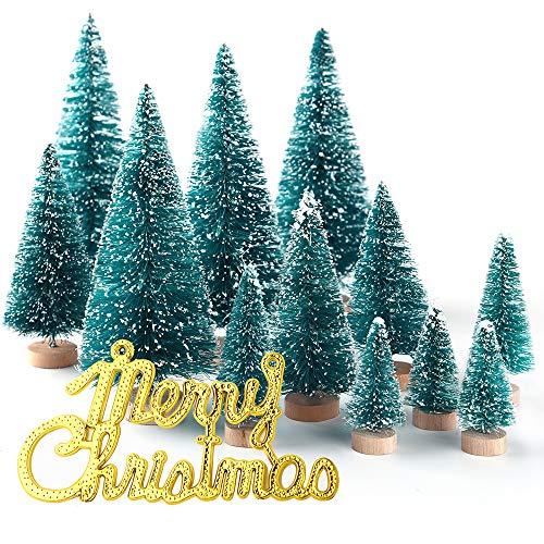 KUUQA 36Pz Mini Sisal Neve Gelo Alberi Alberi di Natale Spazzole per bottiglie Alberi Plastica Inverno Ornamenti da neve Alberi da tavolo con lettere di Buon Natale per la festa a casa Modello Diorama