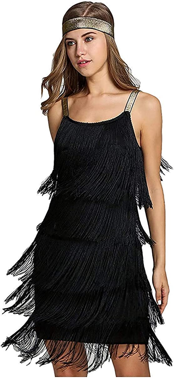 1920s Plus Size Flapper Dresses, Gatsby Dresses, Flapper Costumes LVOW Women 1920s Tassels Straps Dress Gatsby Cocktail Party Fringed Costume Flapper Dresses with Headband $28.99 AT vintagedancer.com