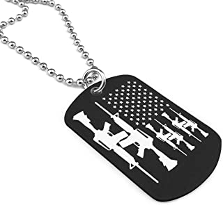 Gun AR-15 2nd Amendment- Gun Rights Military Necklace Dog Tag Pendant Jewelry Necklace
