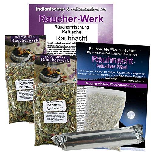 KELTISCHE RAUHNACHT 7-tlg Räucherset für alle Rauhnächte zum Räuchern & Ausräuchern + Kehraus. 2 x Räuchermischungen (22 Kräuter) + Rauhnachtfibel + Räucherkohle + ZUBEHÖR. 81143-X2