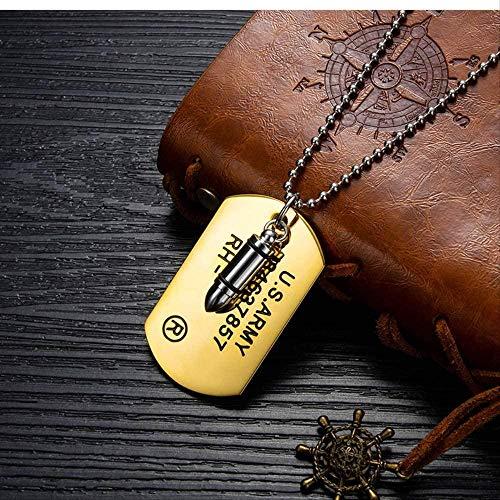 CAISHENY Collar Bullet Dog Tag T Military Men S Collar de Acero Inoxidable con Cuentas de Cadena Collares de eslabones del ejército de EE. UU.