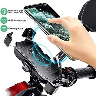 MYYINGELE Motorrad Handyhalterung mit QC3.0 Quick Charger und USB Ladegerät, 360° Drehbare Wasserdicht Motorrad Handy Halter für Alle 4 Inch zu 7 Inch Handy GPS, QC3.0