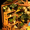 ROBOTIME DIY Dollhouse Wooden Miniature Furniture Kit Mini Green House with LED Best Birthday Gifts #5
