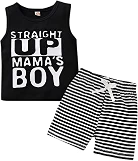 2PC Toddler Kid Baby Boy Summer Clothing Set Cute Letters Print Sleeveless Tank Top T-Shirt Pocket Striped Shorts Outfits