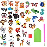 NATUCE 37Pcs 5D DIY Diamond Painting Stickers Kits for Kids Animal Sticker Paint with Diamonds by Numbers Kits Art Crafts Set for Children, Boys and Girls