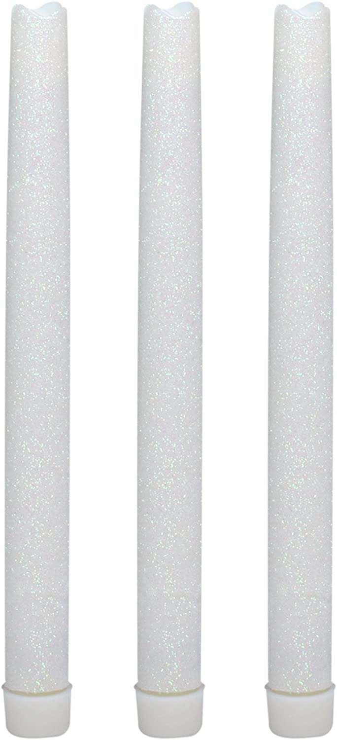 GiveU 9 Inches Melted Led Taper Candles with Timer,Battery Operated,with White Glitter,Pack of 3