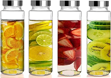 Divoso Clear Glass Water Bottles Set Wide Mouth Glass Bottles with Lids - for Juicing, Smoothies, Beverage Storage Stainless