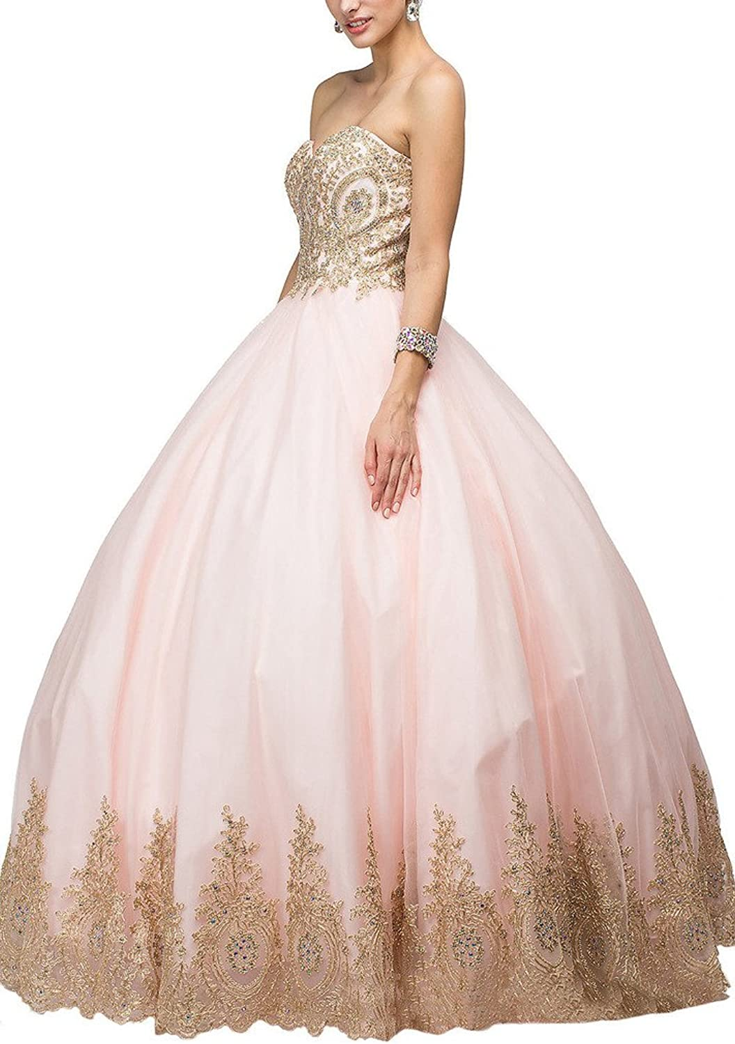 Dearta Women's Ball Gown Sweetheart Tulle Corset Prom Quinceanera Dresses Gowns