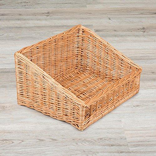 Cesta de mimbre con vista frontal / 130 mm de altura / cesta de mimbre / cesta para mostradores / ideal para la presentación de mercancías en panadería o gastronomía.