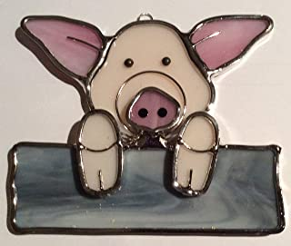 na Pig on a Fence Stained Glass Suncatcher