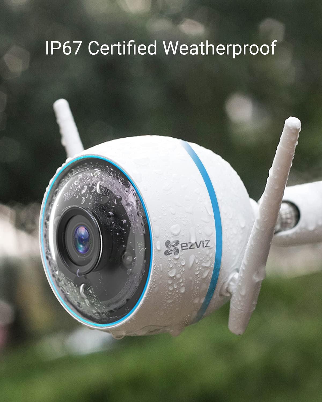 EZVIZ CTQ3N Telecamera WiFi Esterno 1080p, Videocamera Sorveglianza Esterno WiFi con Visione Notturna a Colori 30m, IP Camera con Intelligenza Artificiale, Rilevamento di Persone, Funziona con Alexa