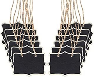 TRIXES 12PC Wooden Chalkboard Hanging Signs Rustic Decorative Table Placements for Weddings and Dinner Parties