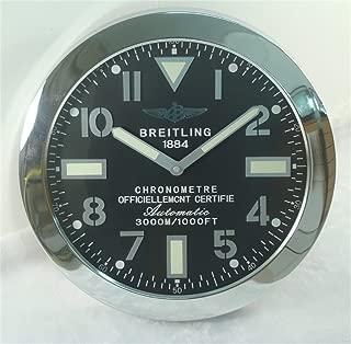 Breitling Luminous Silent Sweep Wall Clock, Silver+Black