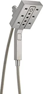 Delta Faucet 4-Spray Touch-Clean H2Okinetic In2ition 2-in-1 Dual Hand Held Shower Head with Hose and Magnetic Docking, Stainless 58473-SS