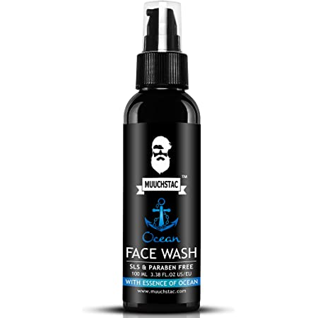 Muuchstac Men's Ocean Face Wash, Anti Acne & Pimple, 12 hrs Moisturizes, All Skin Types, Skin Brightening, No SLS, Silicone and Paraben, 100 Ml.