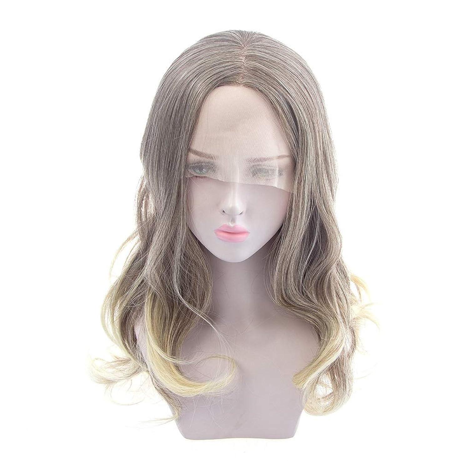 検出する小切手スティックZXF ヨーロッパとアメリカの女性の長い巻き毛のかつら、化学繊維のフロントレースのかつら、半手織り難燃性高温ワイヤー 美しい