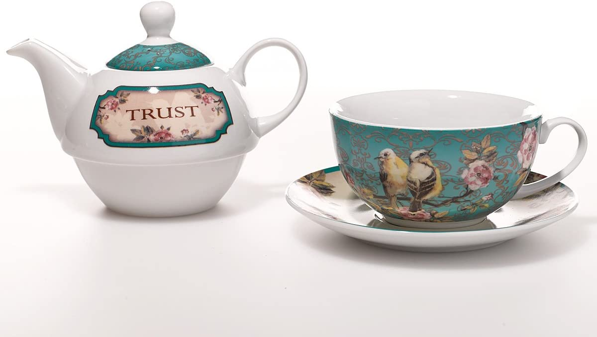 Ceramic Teapot Birds and Flowers Tea for One Person Set with Tea Cup and Saucer Proverbs 3:5 Trust in The Lord