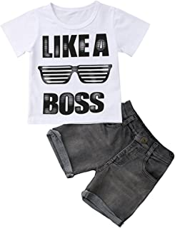 Casual Toddler Kids Boys Girls Tops T-Shirt Denim Pants Outfits Set Clothes 1-6Y