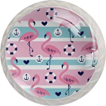 Gestreepte Flamingo Ronde Keukenkast Pull knop, Kabinet, Garderobe, Meubels, Lade Handvat 4 stks