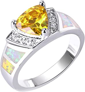 Anelli KELITCH per donne Ragazze Waterdrop Fire Blue Opal Stacking Ring Hollow out Anello placcato argento per donne C-6