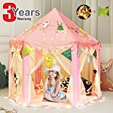 """Girls Tent Kids Children Play Tent Toys Princess Castle Games House with Star String Lights and Decorations Banners for Indoor / Outdoor Fun - 55"""" x 55"""""""