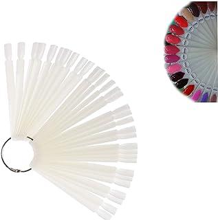 Pinkiou偽ネイル カラーチャート ネイルアート スティック チップ 偽ネイル ディスプレー 練習用 女性用 折り畳み式 (ホワイト 50個)